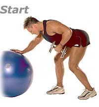 Dumbbell Bent-Over Row with Sissel Swiss Ball Pro