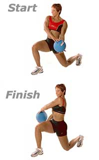 Lunge Cross-Overs with Medicine Ball