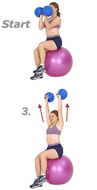 Thumb - Seated Arnold Press on Sissel Exercise Ball with Sissel Power Weight Ball