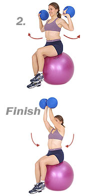 Image 2 - Seated Arnold Press on Sissel Exercise Ball with Sissel Power Weight Ball