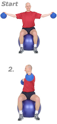Seated Lateral Raise with Rotations with Sissel Power Weight Balls on Sissel Exercise Ball